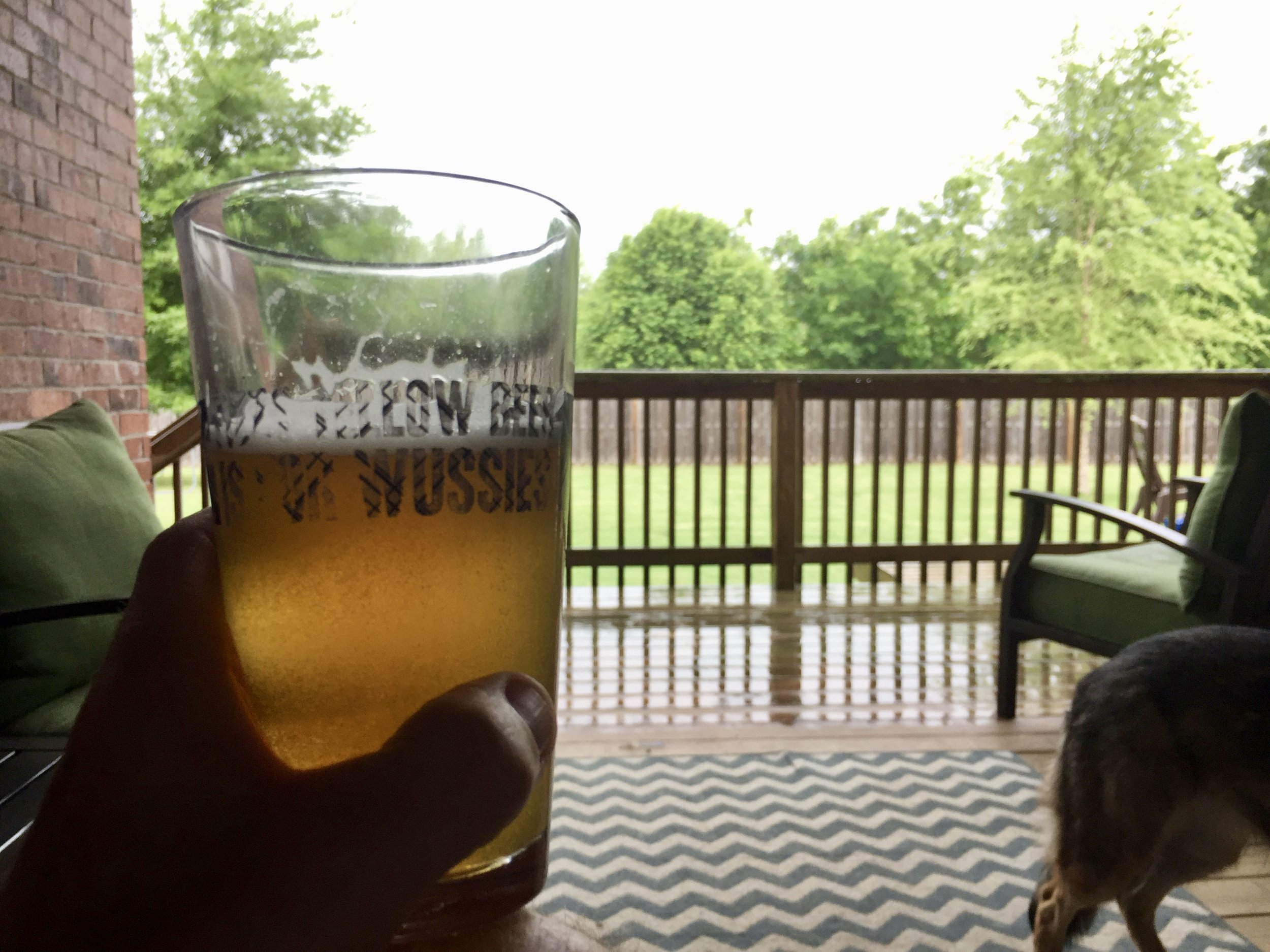 Drinking beer while watching an Arkansas thunderstorm is on my list of favorite things to do.
