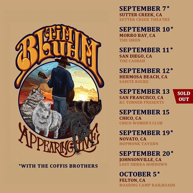 I'll be performing shows across California this fall, some with my friends the @coffisbrothers and some with just my guitar. The above dates are bookmarked nicely by two @motherhips shows; September 6 at @junelakejamfest in June Lake CA and September 21 at @topamountainmusic in Ojai CA. Which shows will you come to?