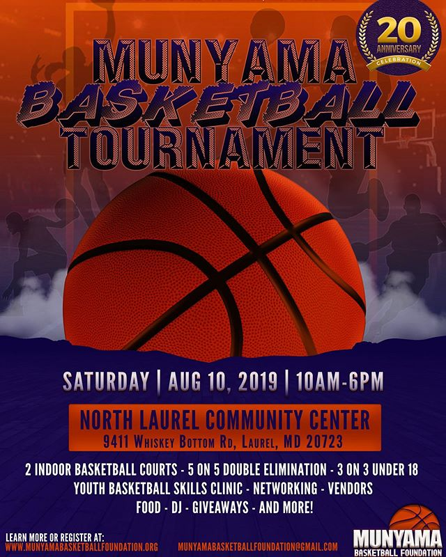 The countdown to the 20TH ANNUAL Munyama Basketball Tournament begins NOW! NOW ACCEPTING: players, teams(under 18/18&over), vendors, volunteers, and interns! Registration is officially open and can be completed online. You don't want to miss this! #basketball #basketballtournament #ballislife #youthbasketballclinic #basketballlovers #basketballneverstops #basketballfan