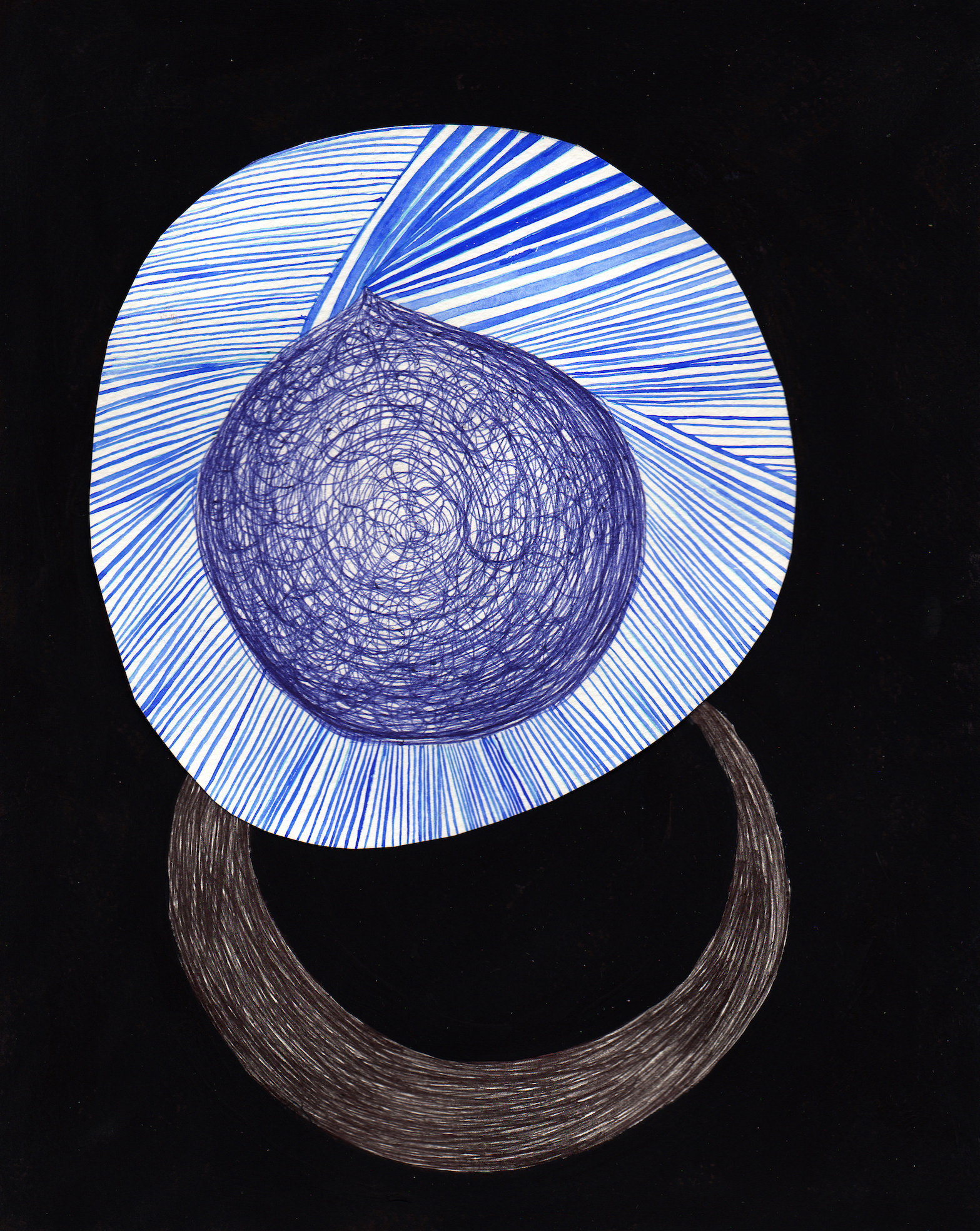 Untitled  , 2014 ballpoint pen, flashe and watercolor on paper 9x7 inches