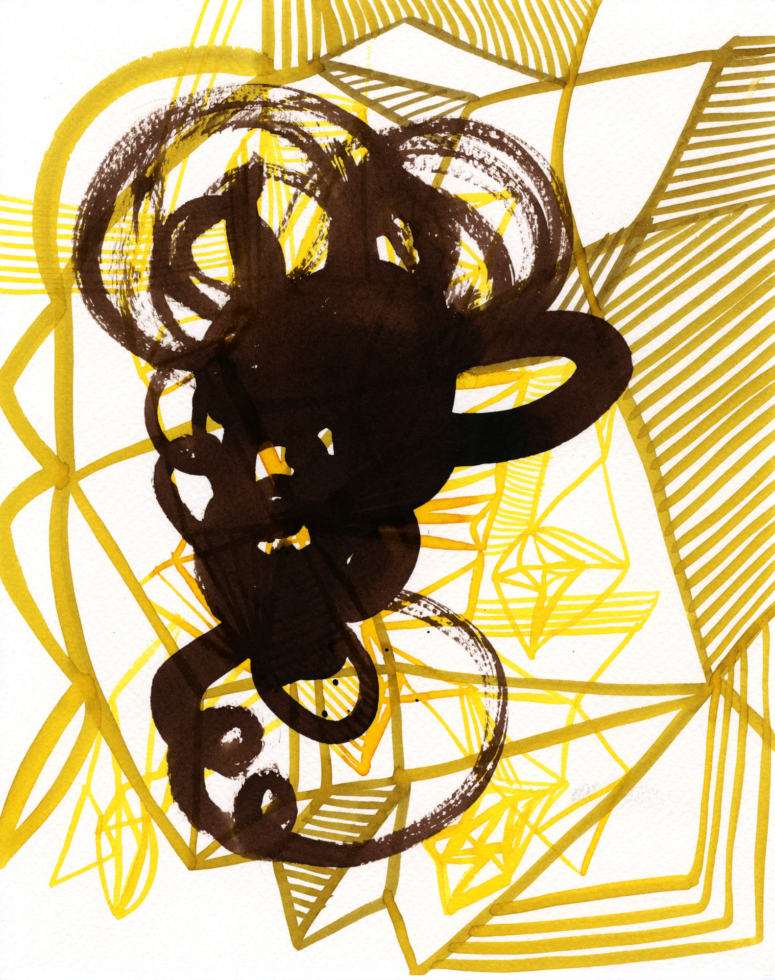 When Mustard meets Soy Sauce, 2014 ink on paper 9x7 inches
