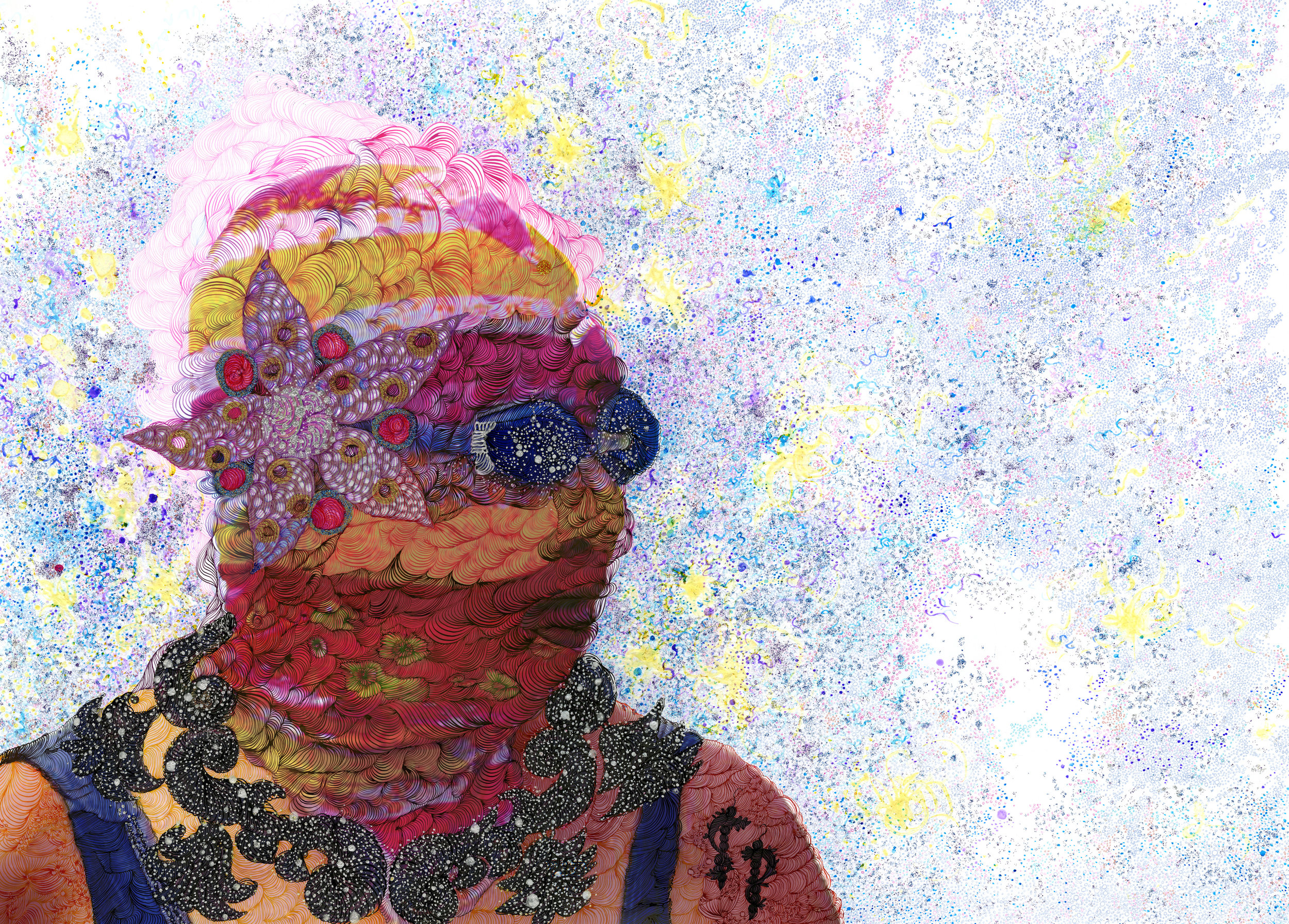 Oxymoron  , 2015 Ink, color pencil, glitter, flashe, and marker on digital photo collage 19.5 x 27.5 inches