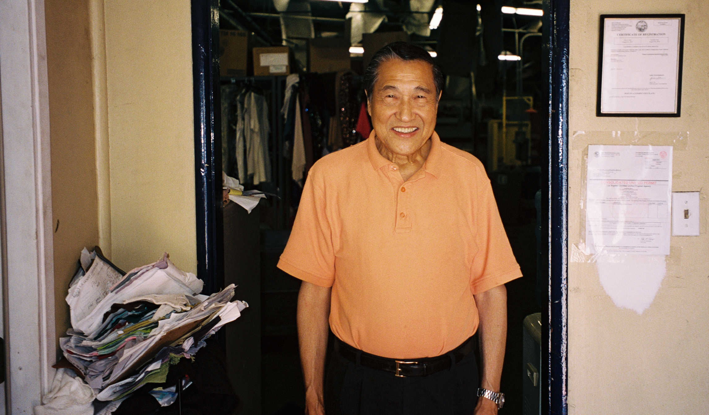 This is Johnny. Originally from the Philippines, Johnny has been dyeing and finishing fabrics and garments in LA for over 30 years. His dye house is one of the most well respected in the industry, known both for its quality and its creativity.