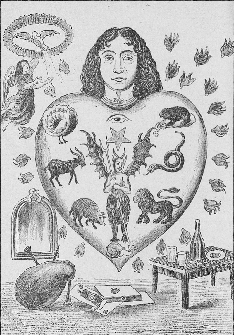 An allegorical image depicting the human heart subject to the seven deadly sins, each represented by an animal (clockwise:toad = avarice;snake = envy;lion = wrath;snail = sloth;pig = gluttony;goat = lust;peacock = pride).  Inspired by this concept, The Deadly Seven was born.  A gastronomic experience  where every course of the menu is represented by a sin and paired with a cocktail.