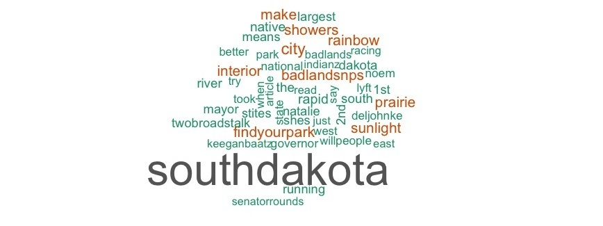 "Some cheerful words from the last 1,000 tweets from in our happiest state include ""prairie"", ""sunlight"", and ""rainbow""."