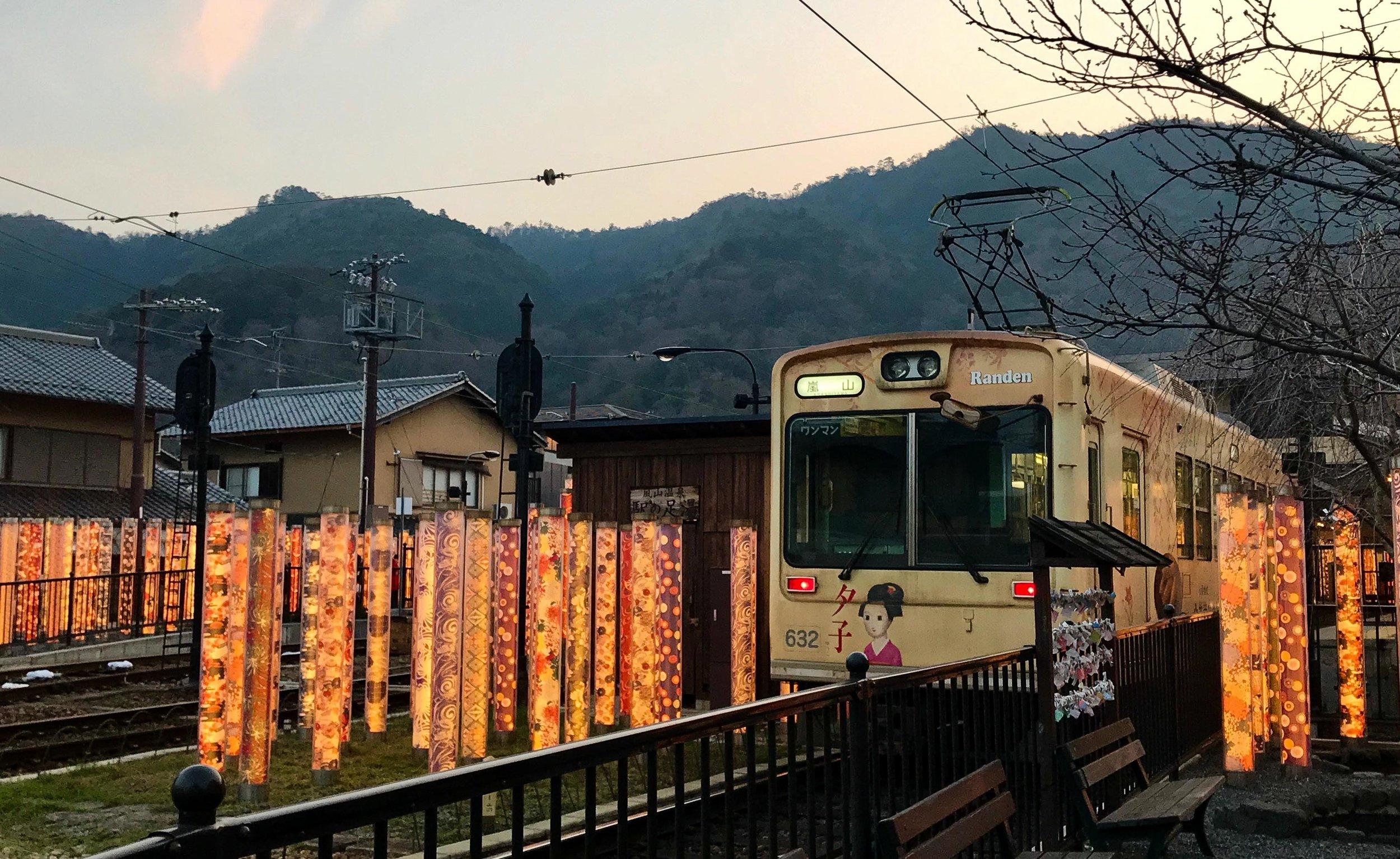 Arashiyama Kimono forest around tram station, Kyoto