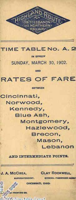 CL&N timetable from 1902