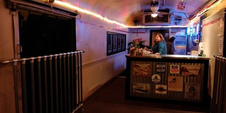 Queen City Tavern interior at night