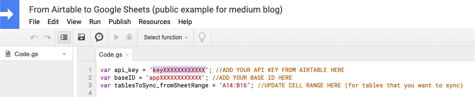 Paste your Airtable API key in here.