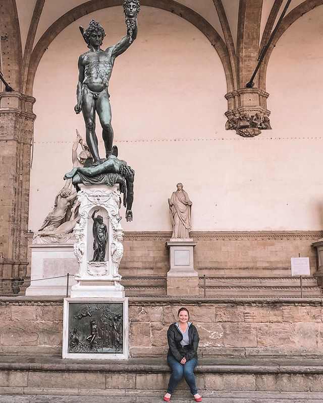 """It is such a wonderful experience to see pieces of artwork in person that you spent learning about through books. Which is why I believe art should be accessible to all. ⠀⠀⠀⠀⠀⠀⠀⠀⠀ This one is called """"Perseus with the Head of Medusa"""". Such a powerful piece located in Loggia dei Lanzi, anyone walking the streets of Florence can view/study. ⠀⠀⠀⠀⠀⠀⠀⠀⠀ ⠀⠀⠀⠀⠀⠀⠀⠀⠀ ⠀⠀⠀⠀⠀⠀⠀⠀⠀ #artwork #sculpture #womenwhotravel #travelblogger #travelgram #sheisnotlost #wanderlust #igtravel #travelphotography #travelling #letsgoeverywhere #doyoutravel #traveldeeper #passportready #lifewelltravelled #beautifulplaces #aroundtheworld #dametraveler #outdoorwomen #medusa #perseus #artforall #makeartaccessible #firenze #italy #italia #florence #florenceitaly #scultpurework #storiesthroughart"""