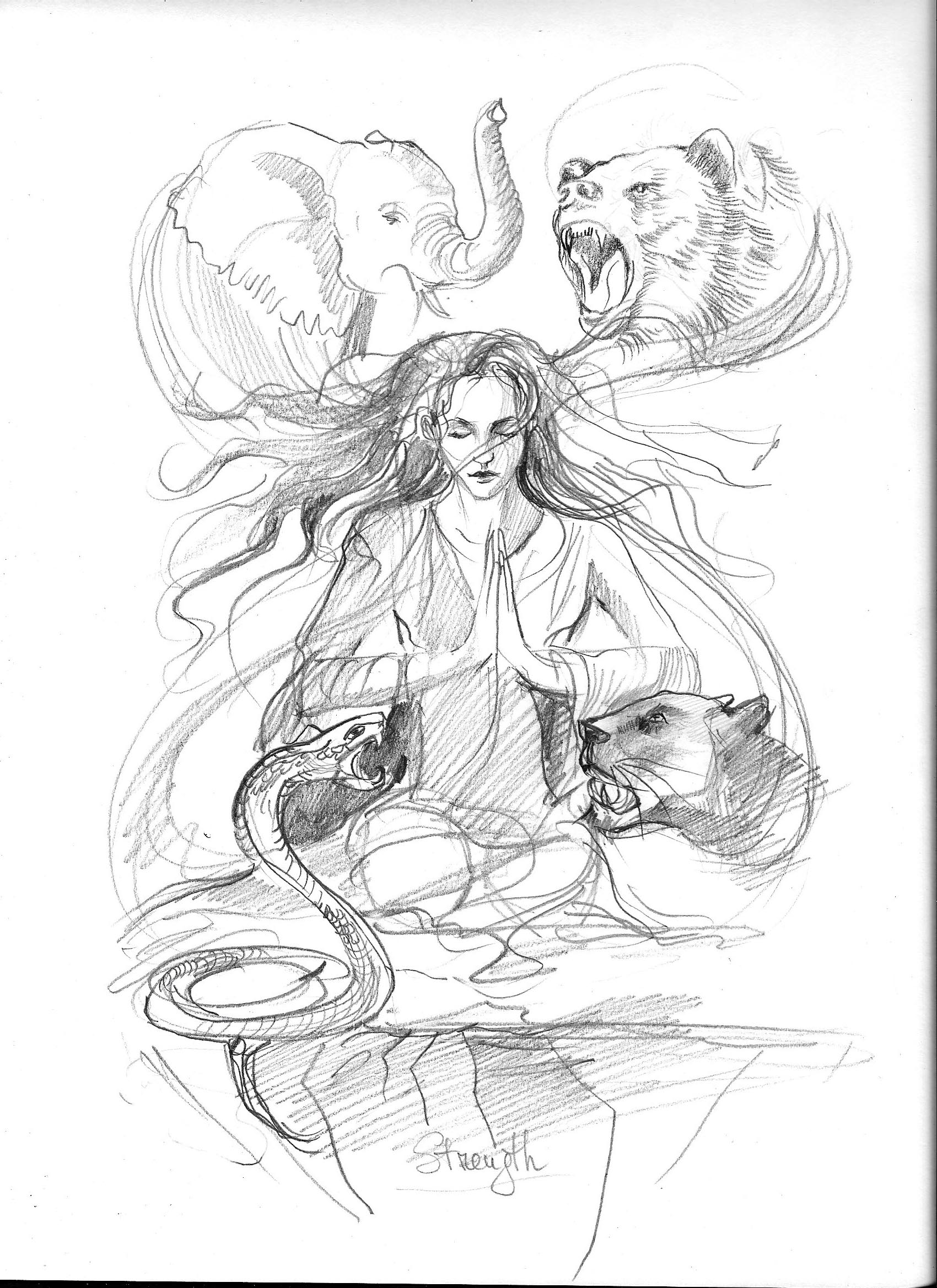 Pencil sketch of the strength card