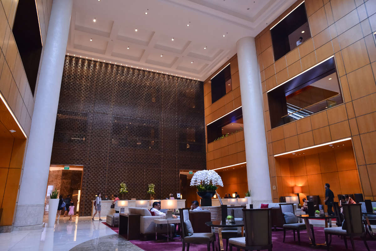 Marriot Hotel Orchard - 3 story high Armourcoat Smooth hand-applied finish on tall columns, creating a majestic look.