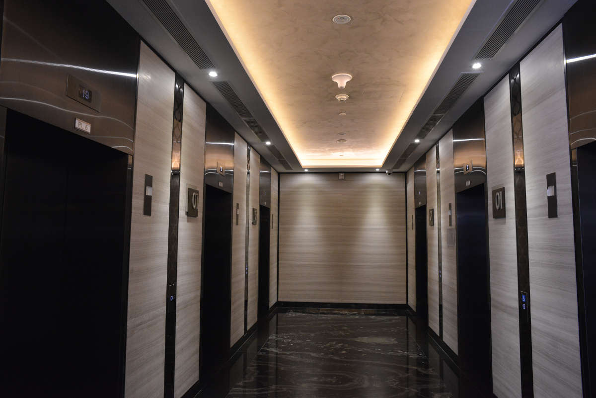 Boss Hotel - Armourcolour Perlata finish at lift lobby ceiling