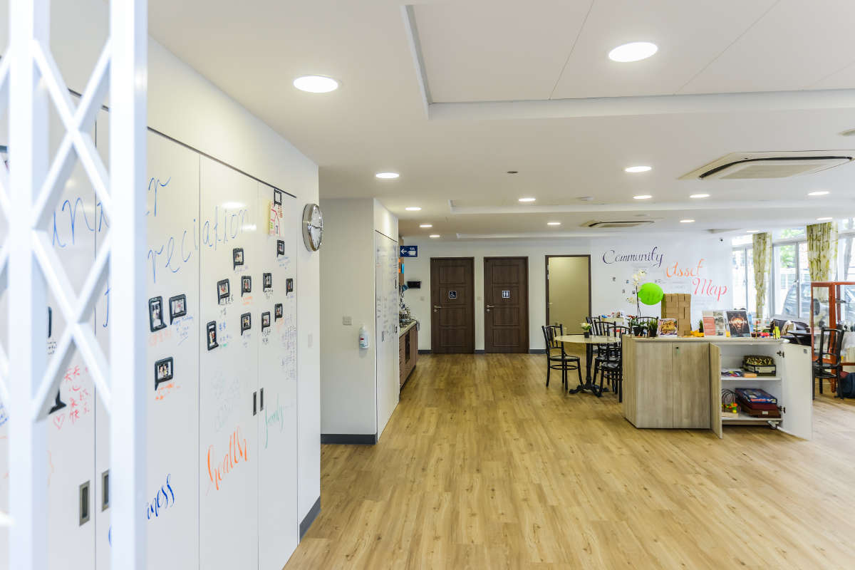 St Luke's ElderCare - Ideapaint on walls & cabinets, revitalising spaces for elderly