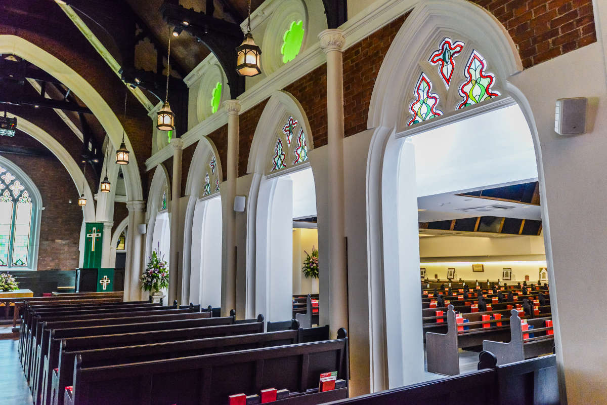 Wesley Methodist Church- Armourcoat Dragged Polished Plaster on walls and columns
