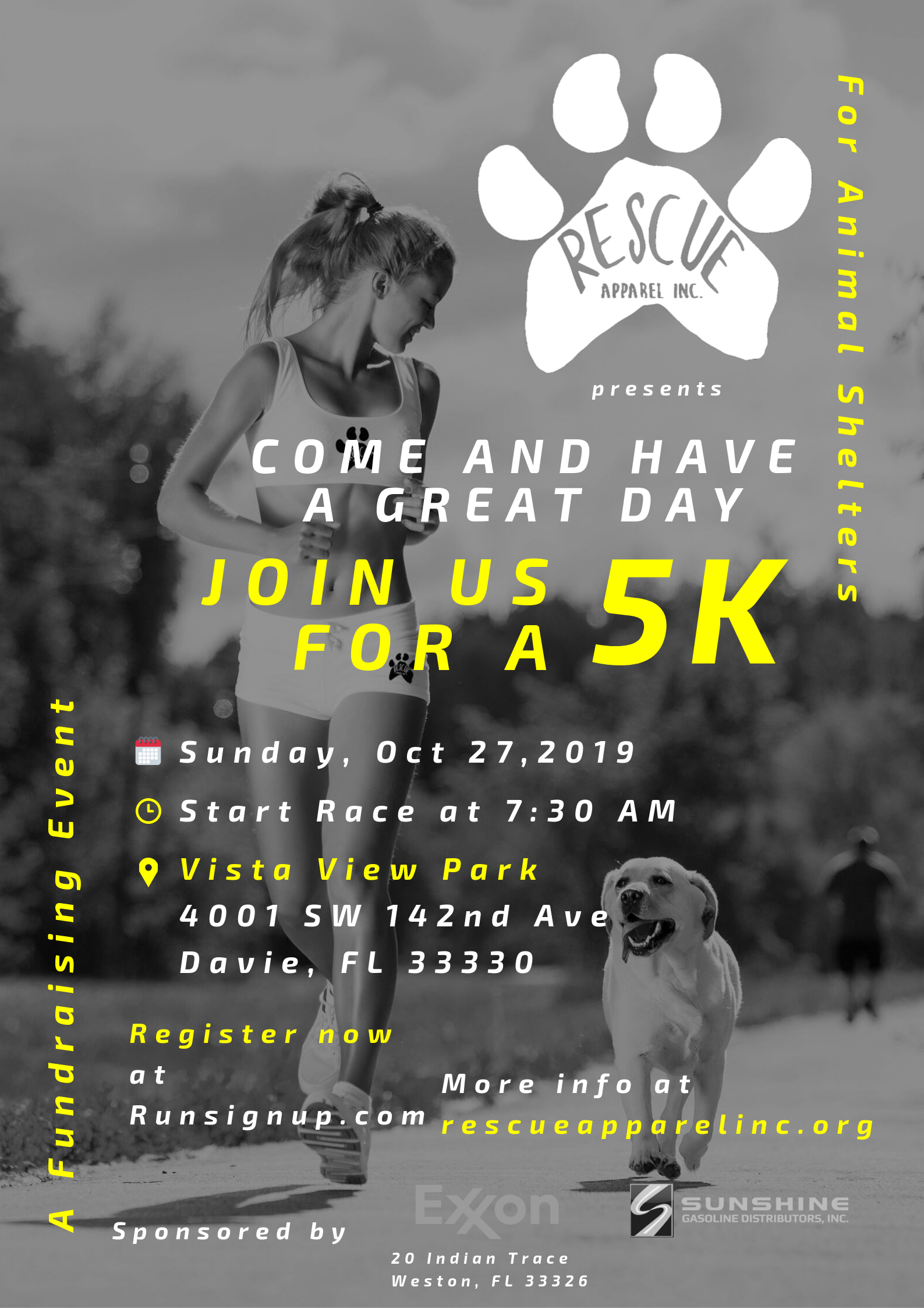 I want to Volunteer - At the 5K on October 27, 2019 we will help feed two shelters:- South Florida -Broward Animal Services- An impacted shelter in the Bahamas