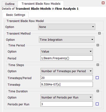 Transient cyclic simulation settings