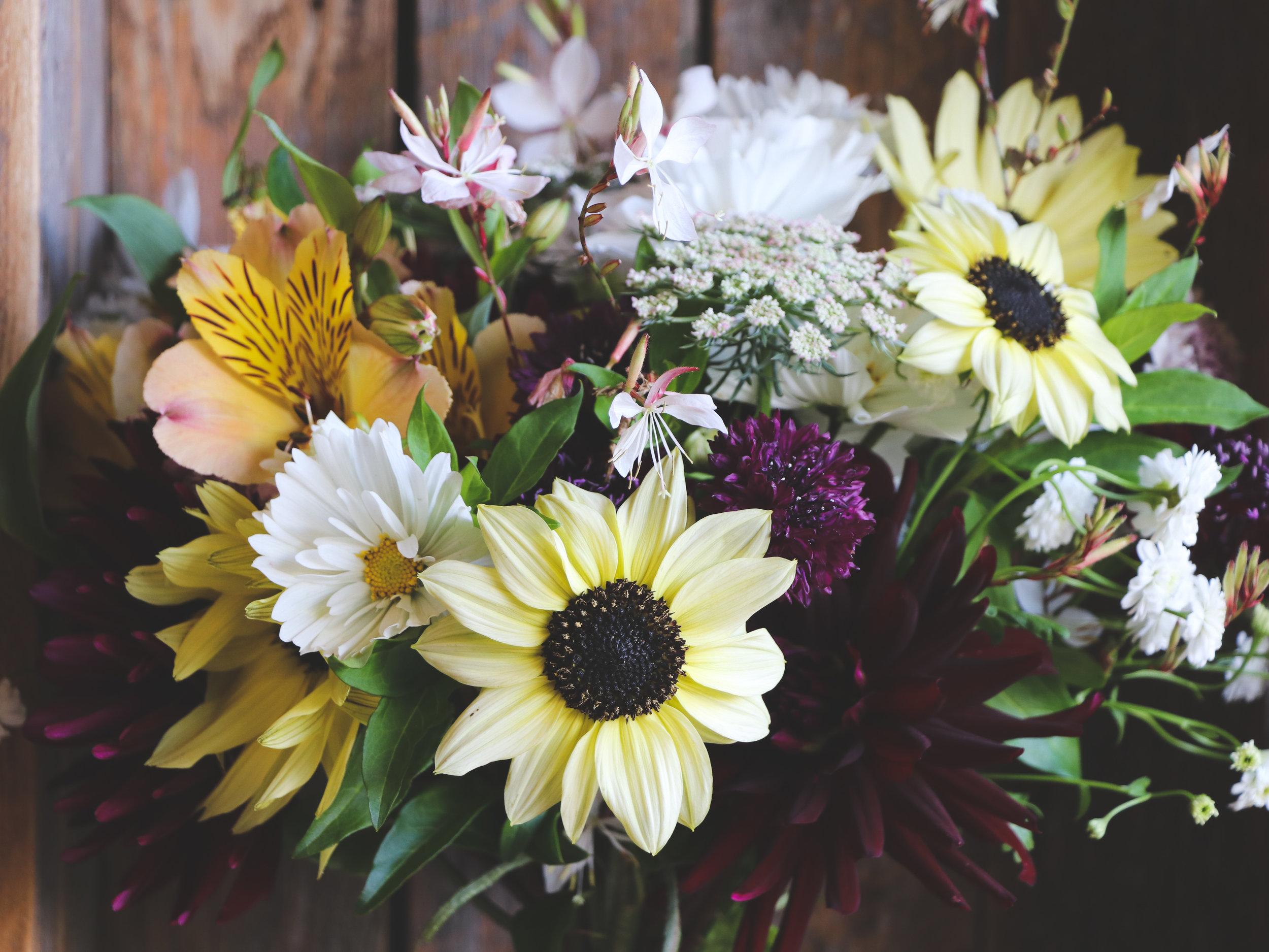 moody sunflower cosmos alstromeria bouquet.jpg