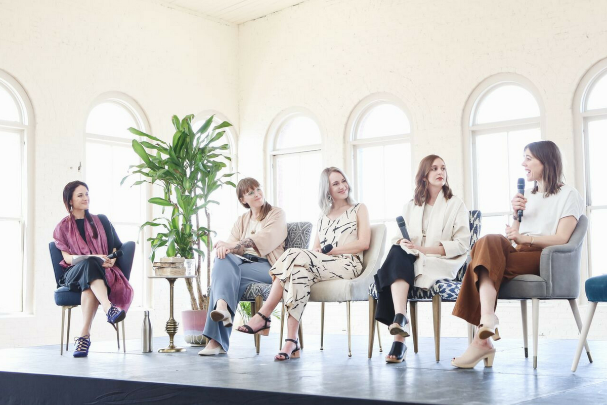 Pictured (left to right): Andrea of  Fashion Revolution  and  Ecologique Fashion , Chloé of  Concious by Chloé , Ellie of  Selflessly Styled , Allison of  The Thoughtful Closet  and Andrea of  Seasons + Salt