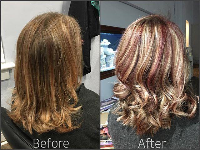 #beforeandafter #highlights #redhair #blondehair #haircolor