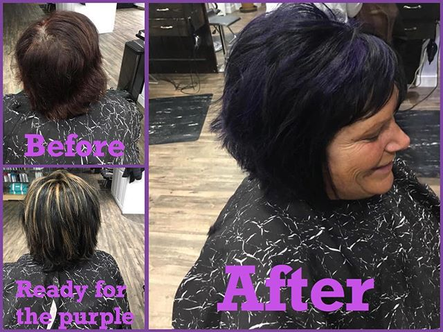 #beforeandafter #purplehair #haircolor