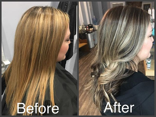#beforeandafter #balayage #highlights #haircolor #curl #hairstyles