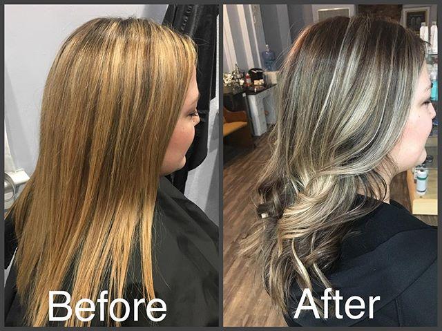 #beforeandafter #balayage #highlights #haircolor #curl #hairstyles