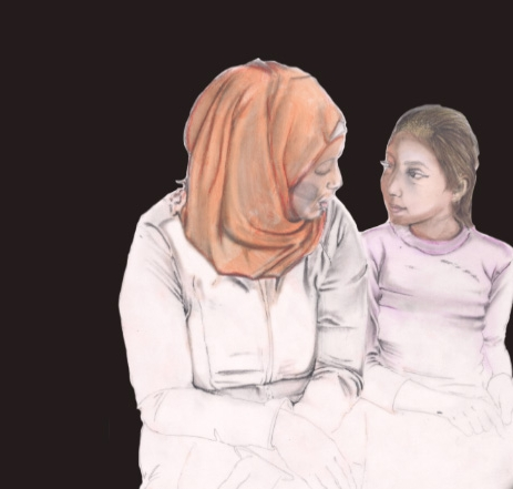 MEET AYA - Aya was only two when her family fled war and moved to America. Her grandmother often talks about the fig tree back home. And everything else they had to leave behind. Aya records her grandmother's memories in a diary, along with the cruel things people say to her mom and dad because they're Muslim.                                   Art by Perry Wilson
