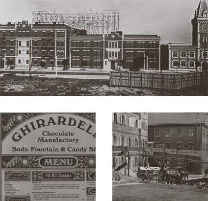 Historical Black and White Photos of Ghirardelli Square predating late 1800's.