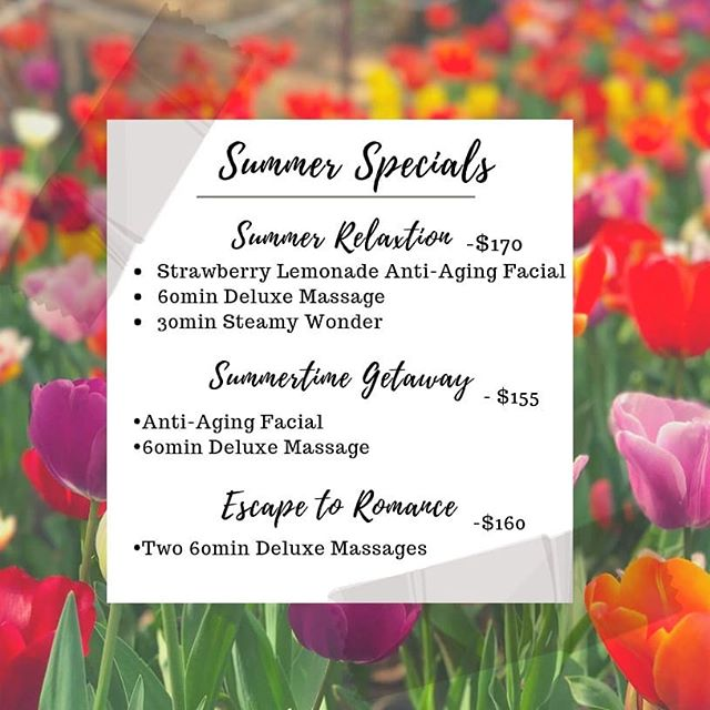 Summertime Specials! Book yours today!☀️ #shangriladayspa #summertime