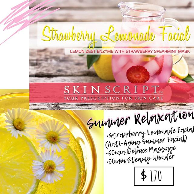 One of our amazing summer relaxation packages!☀️🧖♀️ Book yours today! Strawberry Lemonade🍓🍋 Facial will be around for a limited time so don't miss out! #massages #facials #antiagingfacial #massagetherapy #therapuetic #summerrelaxation #skinscript #skinscriptrx #shangrilamassage #shangriladayspa #deluxemassage #deeptissue