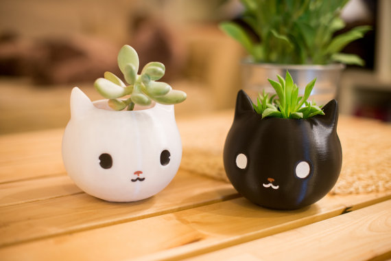 Ballin' on a budget or purhaps you like white or black cats? Here is the cat that started it all for us, our best seller and an adorable gift for the cat lover in you available over 20 different colors including pink - Universal Catch All - Planter - Organizer - Get a handpainted work of art in one base color with handpainted eyes, nose and mouth.A purrfect gift for the cat lover. Shop Now:   https://www.etsy.com/listing/269532952/cat-planter-cat-lover-gift-black-cat?ref=shop_home_feat_1&ep_click=1