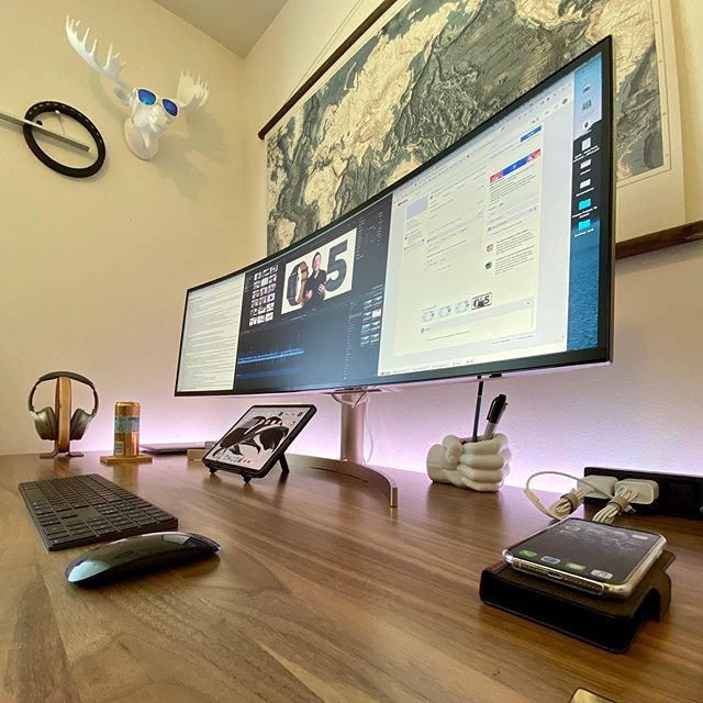"""Going ultrawide. This is the @lgusa 49"""" beast I've had my eye on for awhile. Just minutes in and already I can feel the productivity boost. I'll probably have a video coming (or videos) in the near future. #apple #desk #desksetup #isetups #mac #lg"""