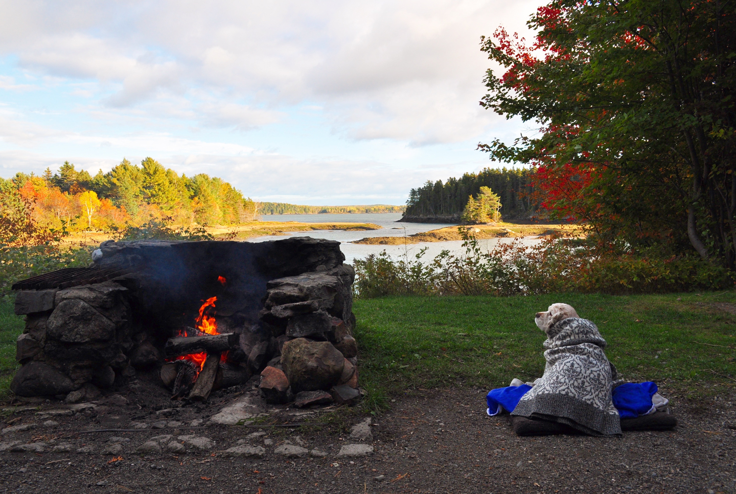 Bundles up by the fire, Mia takes in the view of one of the many inlets of Whitings Bay which surround the camp.