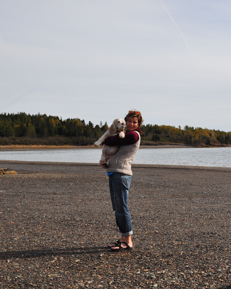 Mia and I pause on the road to Ministers Island, in Saint Andrews by the Sea, New Brunswick. Just as she was with the Mississippi River on another trip, she wasn't super impressed.