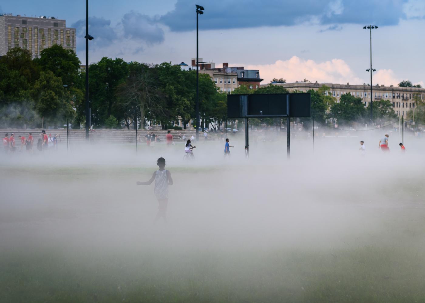 Fog x Canopy (#72509_Fens)  fog billows across the adjacent playing fields.