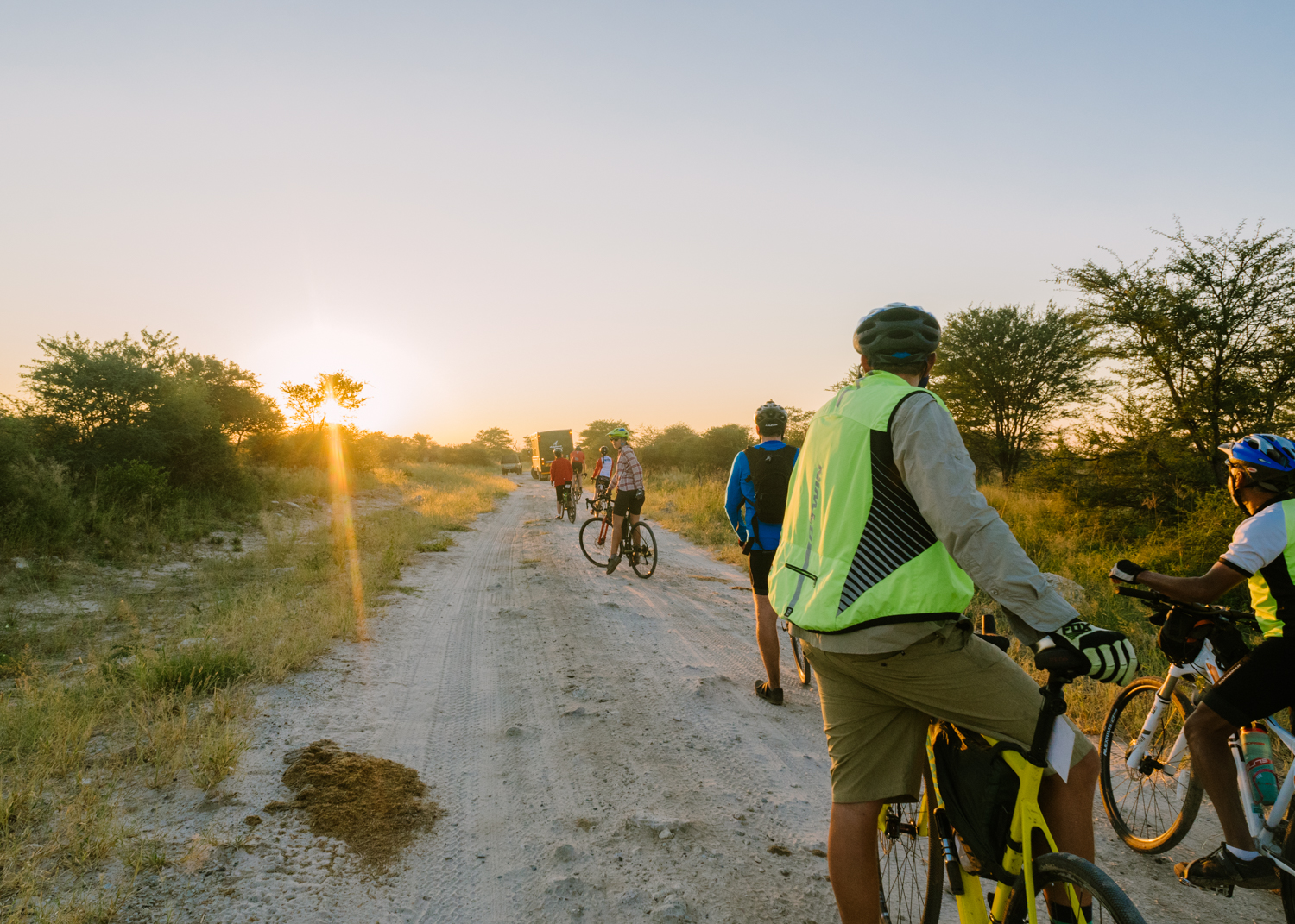 When we knew elephants were around, such as our early morning departure from Elephants Sands campground near Nata, Botswana the cyclists rode together in a convoy. The fresh elephant poo is a sure tip off that they were nearby, and we had seen many the night before in camp.