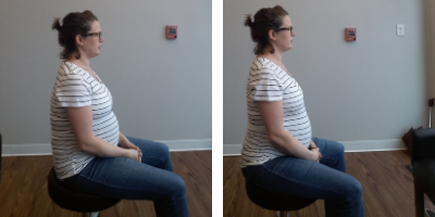"On the left you see me sitting on my sacrum (the tailbone area). In this position the abdomen almost goes into a ""crunch"" position and can increase pain and discomfort of the lower ribs. On the right I am more upright, sitting on the Sitz Bones (the bony part under the butt) and keeping a neutral spine. This is an optimal sitting position because it allows for the diaphragm and pelvic floor to fully move and stabilize."