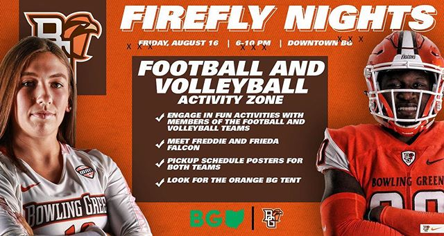 We are excited to be partnering with BGSU's Football and Volleyball programs at Firefly Nights this Friday!  Bring your kiddos out for some Falcon Fun!
