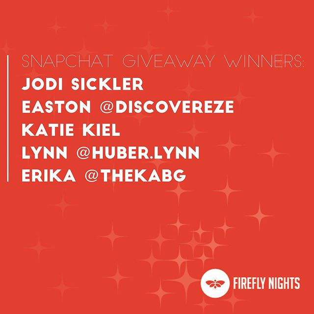 HAPPY FIREFLY NIGHTS FESTIVAL DAY! 🎉 Thanks for participating in our Snapchat giveaway. We just announced our winners! If you see your name message us on Snapchat and we will tell you how to obtain your Custom FFN Kitchen Set. 🎉 If you want more updates on Firefly Nights throughout the day and more chances to win giveaways make sure you follow our Snapchat: @fireflynightsbg 🎉 See you tonight from 6-10 on Church Street and the Wooster Green!