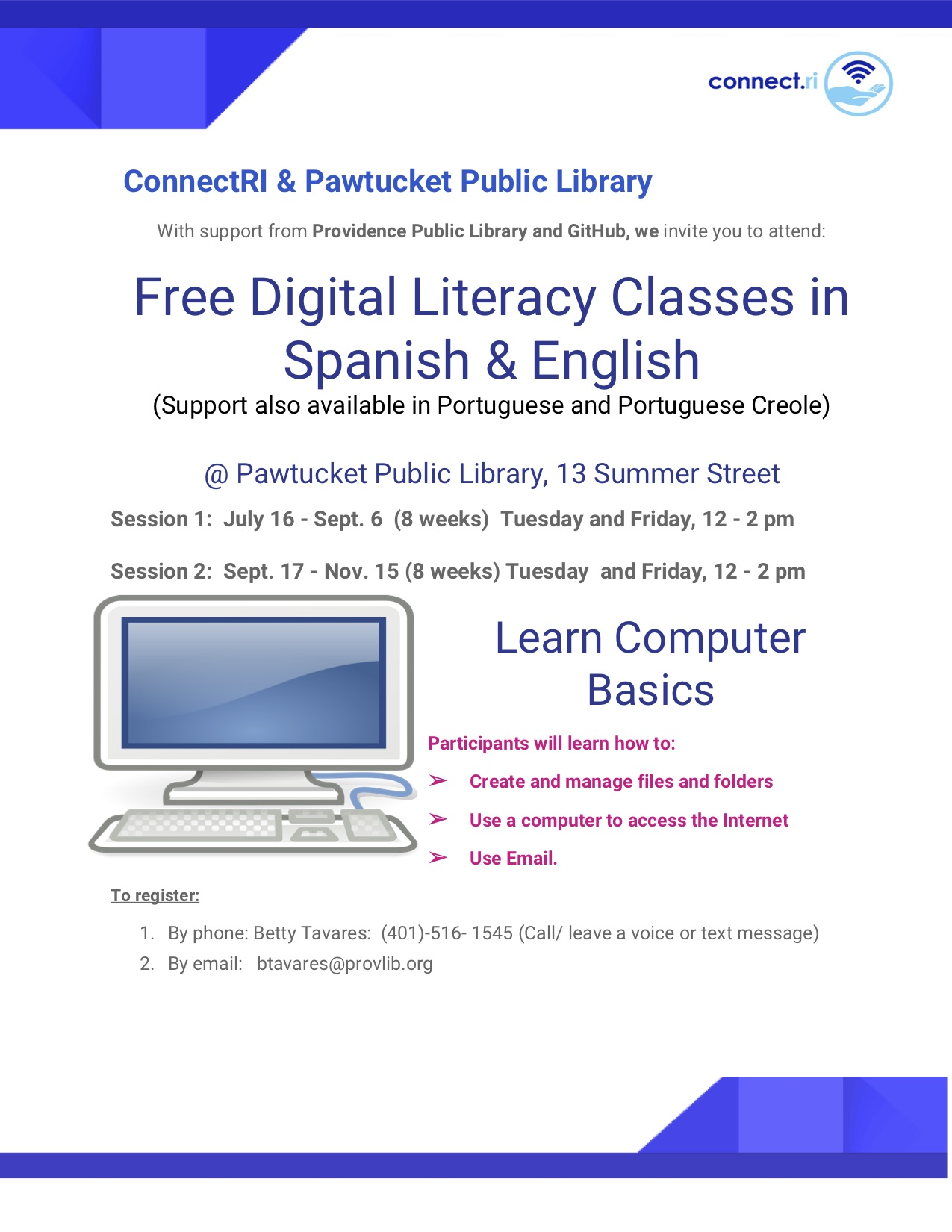 Bilingual Digital Literacy Classes being held this summer at Pawtucket Library! -