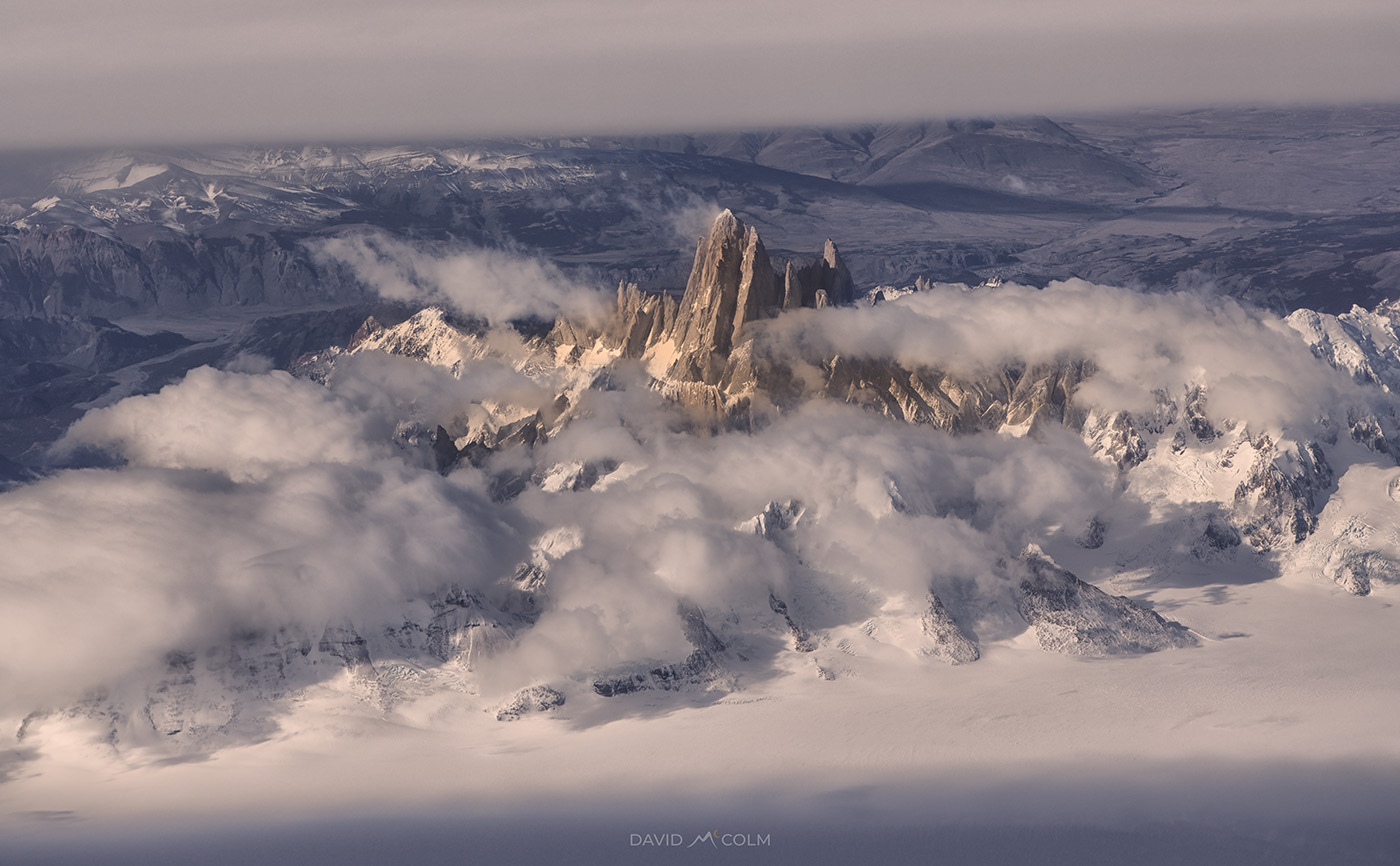 An aerial photo of Mt. Fitz Roy captured while flying from Santiago to Punta Arenas, Chile