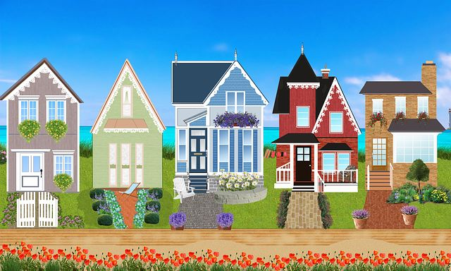 Houses of all different shapes, sizes, and colors.