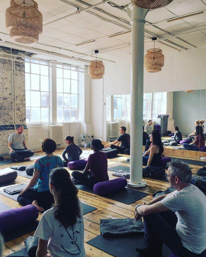 Ryan Nell teaching a community meditation class at Peckham Fest 2018