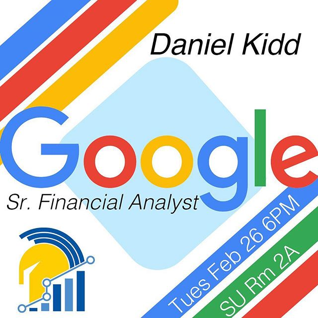 SA Members! Get excited for our first guest speaker event of the new semester!! Come meet Daniel Kidd, a senior financial analyst at google. This is a great way to get insight on what a financial analytics does in the professional field and the skills required to get there.  #spartananalytics #sjsu #google #spartan #sanjosestate #finance #analytics #data