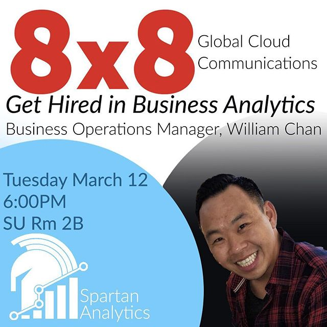 "Spartan Analytics is pleased to invite you to our second ""Analytics Speaker Series"" featuring William Chan from the start-up, 8x8. Join us on Tuesday, March 12th @ 6pm in Student Union Meeting Room 2B to learn some useful analytical and business development tips. Food will be provided.#data #analytics #sjsu  #spartans #spartananalytics #business #marketing"