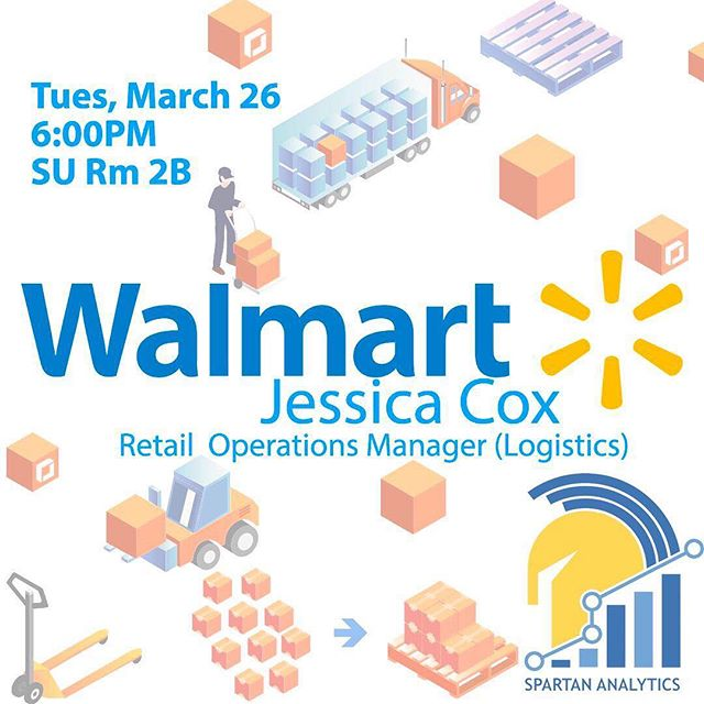 "We would like to invite you to our ""Analytics Speaker Series"" event with Jessica Cox from Walmart on Tuesday, March 26 at 6:00PM Student Union Meeting Room 2B. Jessica will be coming in to discuss how Analytics plays a part in her career as a Logistics Analytics. This is a great opportunity for you to come and learn about her career path, and how analytics plays a role in logistics. Come meet her and build your network! #sanjosestate #sjsu #analytics #spartans #walmart #data #dataanalytics"
