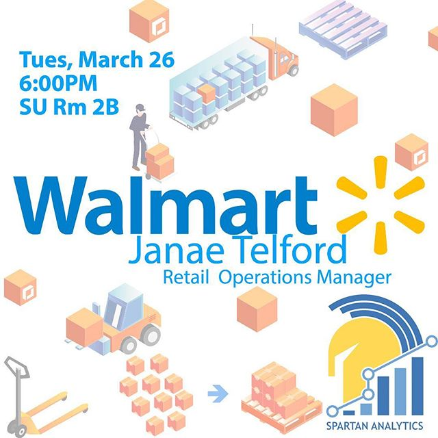 Hey members, change in plans for today. We have a replacement speaker, who is also a Retail Operations Manager at Walmart. Janae Telford - Retail Operations Manager, Retail Analytics. Come learn about how analytics is used in an operations manager position!!! Network and make good, professional connections.#analytics #sjsu #spartans #walmart #data #dataanalytics #ba #businessanalytics