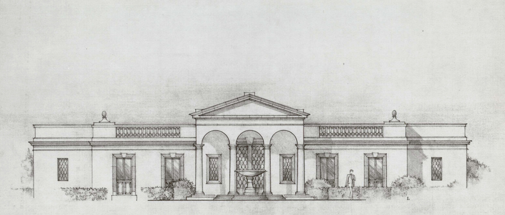 A facade in the Italian-Palladian Style for Arcady, a significant estate in Montecito.