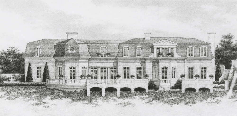 A classic French Baroque Style Residence proposed for Laguna Beach, California for  Winslow Maxwell & Don Smith